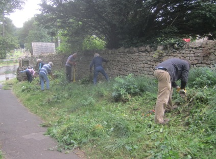 nettles are pulled or forked out and tree shoots trimmed off