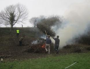 cut bramble is loaded onto the bonfire
