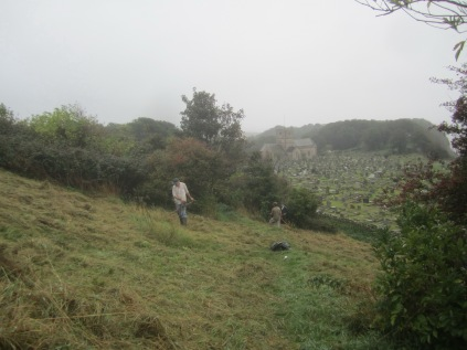 late-summer-scything-on-church-hill-starts-again-on-a-rainy-morning