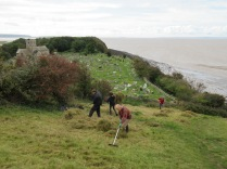raking off the half dried arisings 3 days after scything