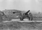 cannon on Wain's Hill (photo by Ted Caple 1930s)