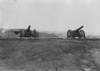 pair of cannon on Wain's Hill (photo by Ted Caple 1930s)