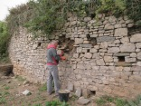 October 2017 - a North Somerset Council contractor replaces missing masonry in the retaining wall to prevent further collapse