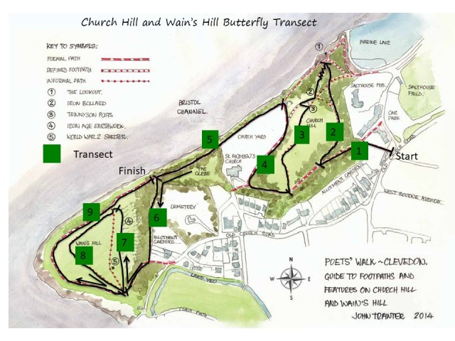 Poets Walk Butterflies Transect map