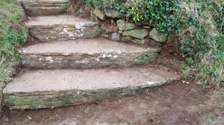 stone steps weeded and swept