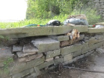 wall needing a permanent fix with mortar after removing an old tree stump