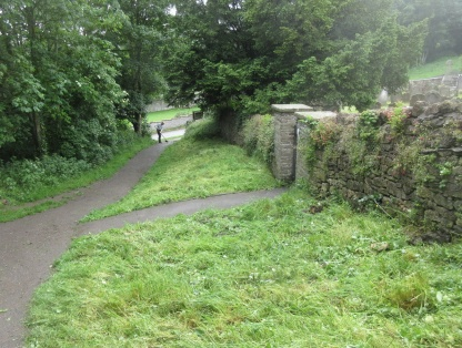 the green gate bank scythed & raked off, and path swept