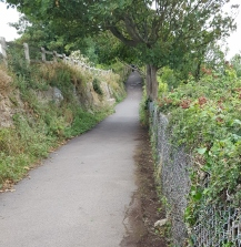 coast path beyond the cemetery wall
