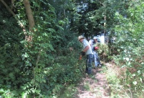 pulling nettles and cutting back vegetation along the path to the Lookout