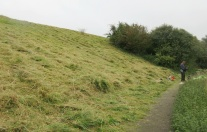 a steep slope on Church Hill mown