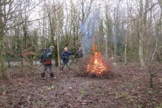 burning brash at Quinney's Wood