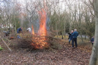 early December bonfire in Quinney's Wood