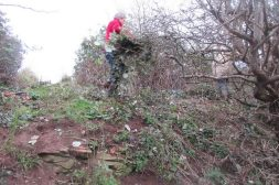 cutting back brambles to improve access from quarry to hilltop
