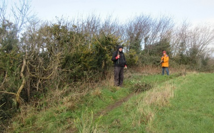 cutting back brambles beside the 1923 path